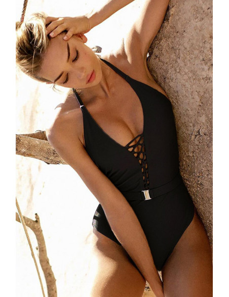 Costum de baie intreg, elegant, snururi si curea cu catarama metalica