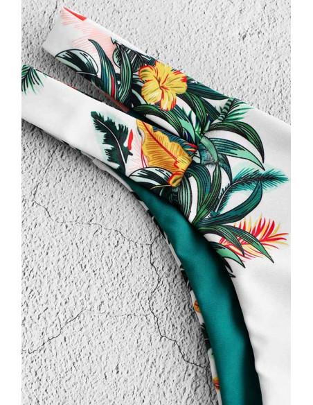 Costum de baie doua piese, turcoaz cu imprimeu floral, bustiera si slip cu 2 fete