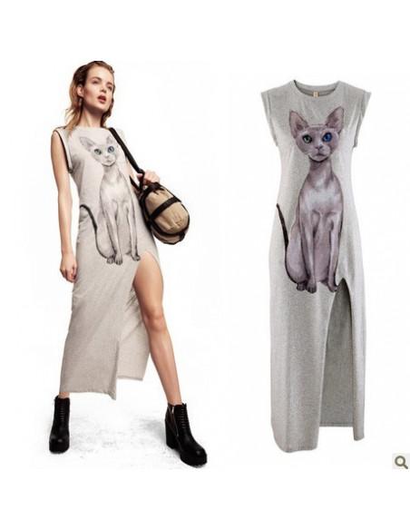 Rochie lunga gri, cu imprimeu pisica roz, rochie mulata