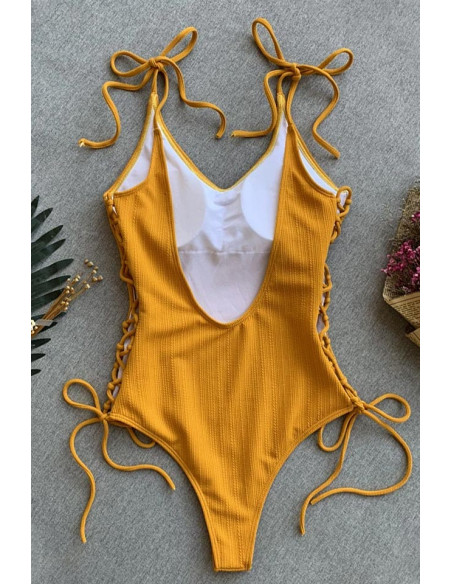 Costum de baie intreg galben mustar, din ribbed jersey, cu snururi pe laterale