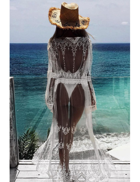 Rochie de plaja din dantela transparenta, cu maneci lungi