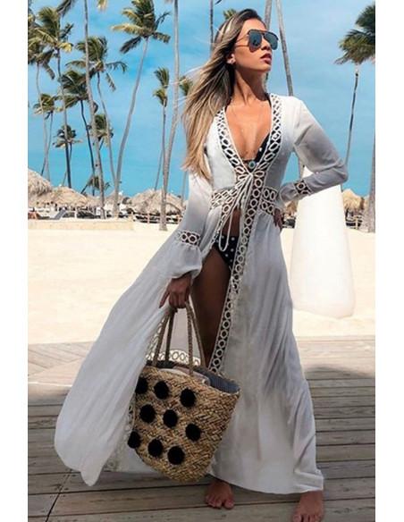 Rochie de plaja lunga, model cu cerculete si maneci cu volane