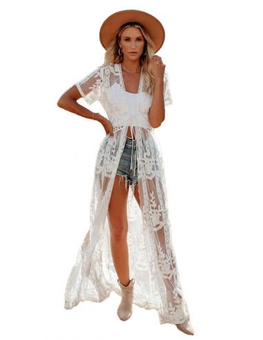 Rochie de plaja din dantela transparenta, model floral, cu maneci scurte