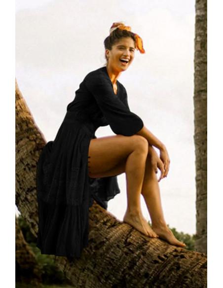 Rochie de plaja, lunga, cu nasturi in fata si aplicatii din dantela