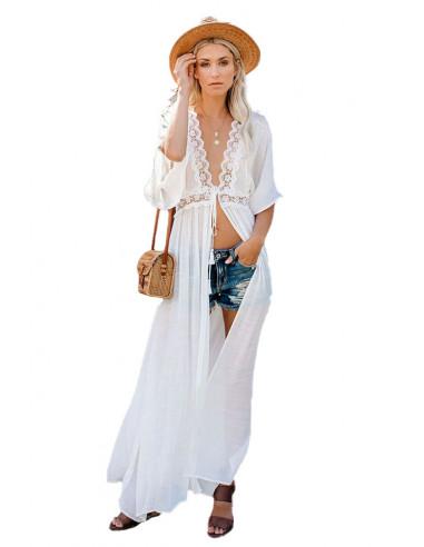 Rochie de plaja lunga, cu aplicatii din dantela si maneci scurte