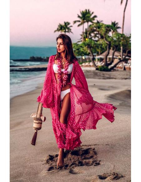 Rochie de plaja, lunga, cu patratele, maneci lungi si volane