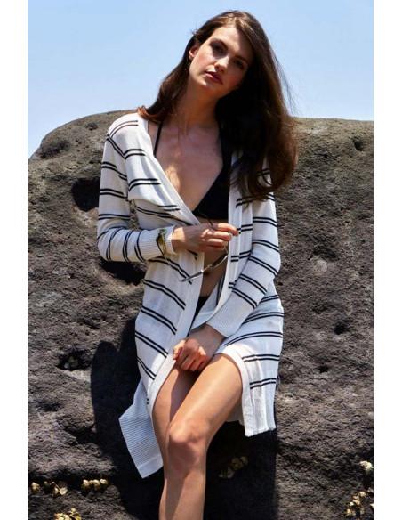Cardigan tricotat subtire, de vara, cu dungi, nasturi si maneci lungi