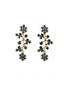 Cercei vintage eleganti, Olive Branch, ramurele cu cristale verzi