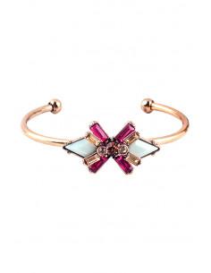 Bratara vintage eleganta, tip cuff, floare cu cristale crem si roz