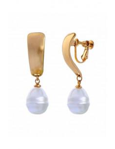 Cercei eleganti, cu clipsuri si perla mare, in forma de picatura