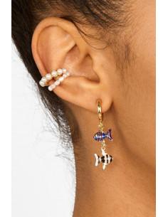 Cercel ear cuff, inel ajustabil cu perlute albe