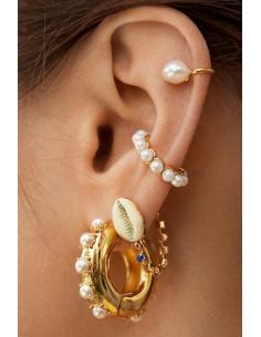 Cercel ear cuff, coronita cu perlute albe