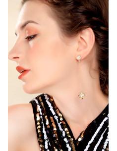 Cercei eleganti lungi, soare cu perla si steluta cu cristale