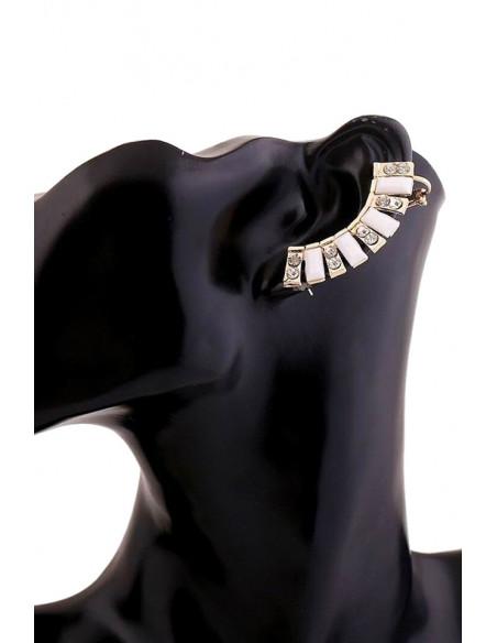 Cercei ear cuff model statement cu cristale alb mat si transparente creasta