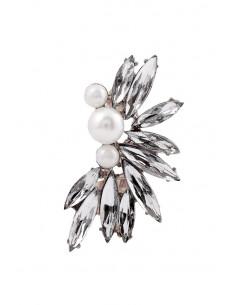 Cercei ear cuff statement cristale albe lungi si trei perle