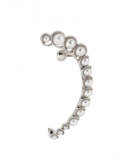 Cercel tip ear cuff elegant, cu perle albe