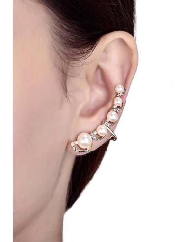 Cercel tip ear cuff, model cu cinci perle si cristale mici