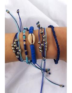 Set 5 bratari albastre, cu snururi, margelute, ananas si scoica