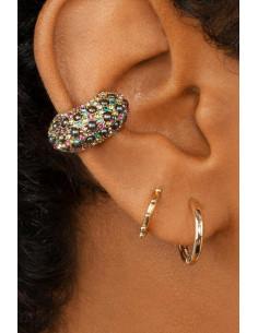 Cercel ear cuff, coronita masiva cu cristale si perlute colorate