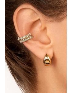 Cercel ear cuff rotund, inel cu cristale mici albe