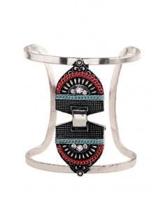 Bratara lata etnica tip cuff cu model geometric, lantisoare si cristale