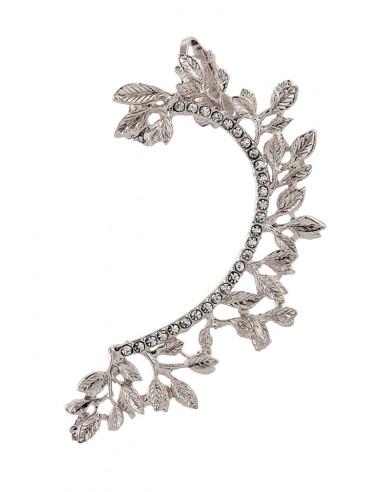 Cercel ear cuff elegant, ramura cu frunze si cristale albe mici rotunde