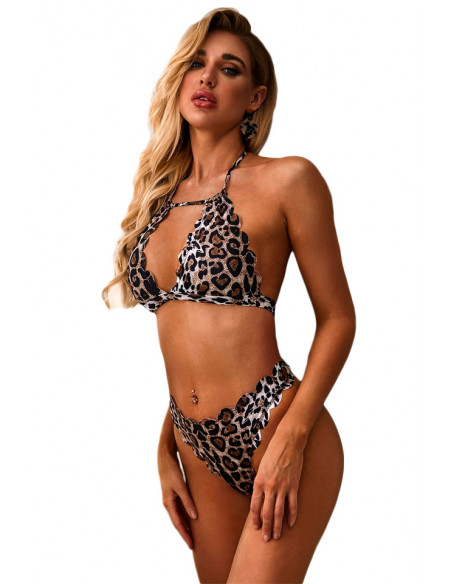 Costum de baie doua piese, imprimeu leopard si margini decupate