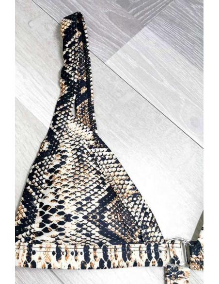 Costum de baie intreg micro, imprimeu piele de sarpe, model bandage cu inele