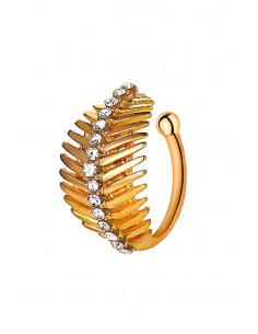 Cercel ear cuff, inel ajustabil cu frunzulita si cristale