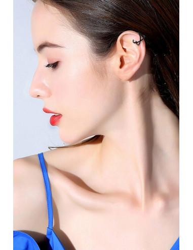 Cercel ear cuff, model dublu cu inele intersectate
