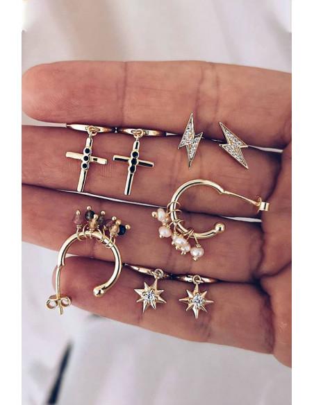 Set cercei si ear cuff cu fulgere, cruciulite, perle si margelute