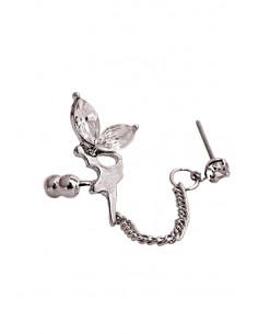 Cercel tip ear cuff, Fairy cu cristale si lantisor