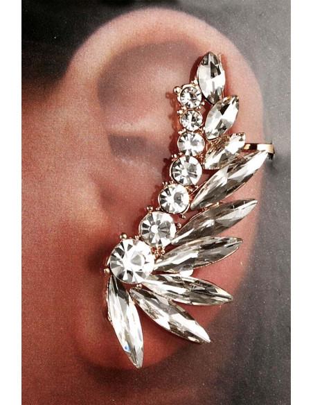 Cercel ear cuff elegant, sir dublu de cristale rotunde si ascutite