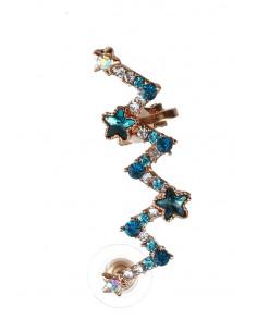 Cercel tip ear cuff, model in zig-zag, cu stelute si cristale colorate