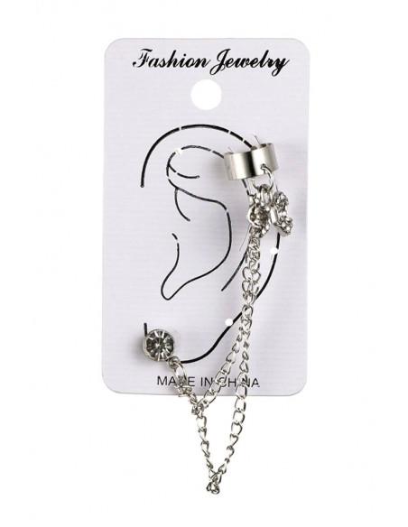 Cercel tip ear cuff, 2 lantisoare, fundita si cristale albe