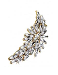 Cercel ear cuff masiv, floare lunga cu cristale mari ascutite