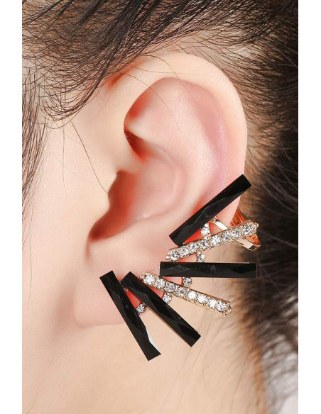 Cercel ear cuff elegant, baghete de cristal negru si albe rotunde