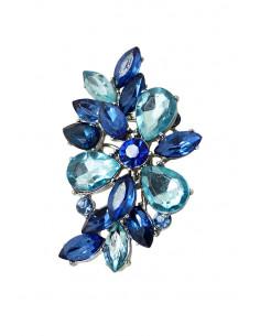 Cercel ear cuff statement, floare din cristale ascutite, albastre