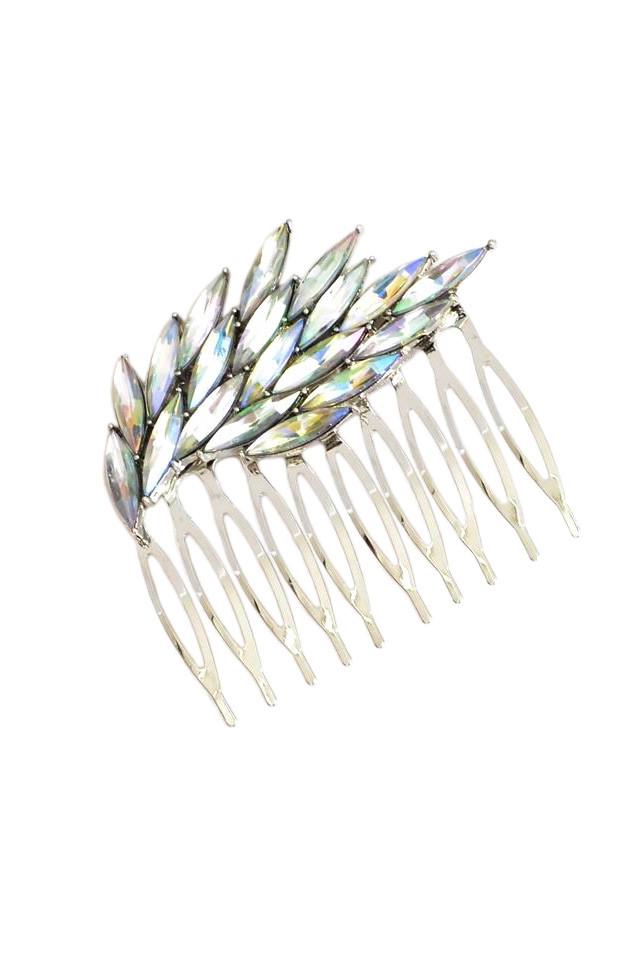 Pieptene pentru coc, model elegant cu cristale ascutite, cu reflexii multicolore