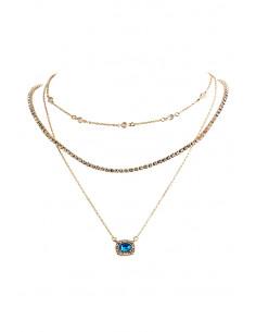 Colier multilayer triplu, medalion patrat, cristal oval si lanturi cu cristale
