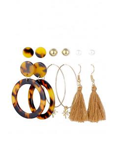 Set de 6 perechi de cercei, cercuri, hula hoops cu stelute, canafi si bilute