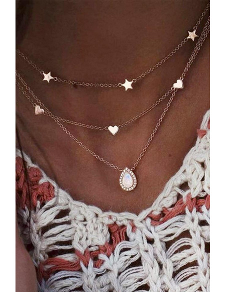 Colier multilayer triplu, medalion picatura cu cristale, stelute si inimioare