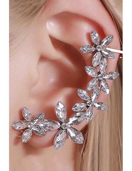Cercel ear cuff cu 5 floricele, cristale fatetate ascutite
