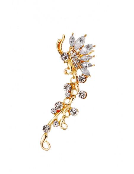 Cercel ear cuff model fluture, cristale rotunde si ascutite cat-eye