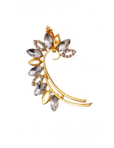 Cercel ear cuff arcuit, petale decorate cu cristale rotunde si cat-eye