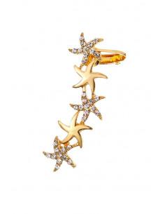 Cercel ear cuff cu 5 stele de mare, decorate cu cristale mici