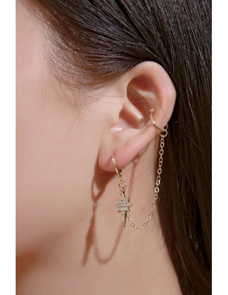Cercel tip ear cuff, lantisor si steluta cu cristale, prindere dubla