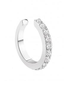 Cercel ear cuff rotund, inel ingust cu cristale mici fatetate