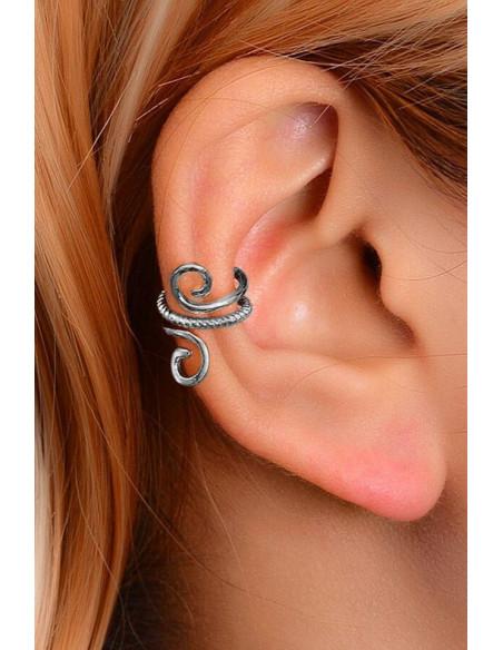 Cercel ear cuff minimal, veriga dubla rasucita