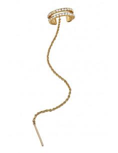 Cercel ear cuff elegant, inel dublu cu cristale si lantisor cu ac